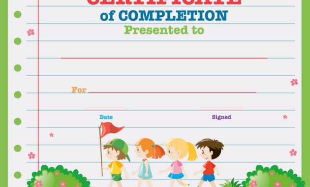Certificate Template With Kids Walking In The Park pertaining to Walking Certificate Templates