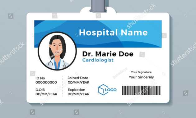 Doctor Id Card Medical Identity Badge Stock Vector (Royalty intended for Hospital Id Card Template