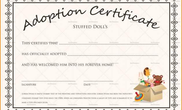 Editable Adoption Certificates Hadipalmexco Child Adoption inside Adoption Certificate Template