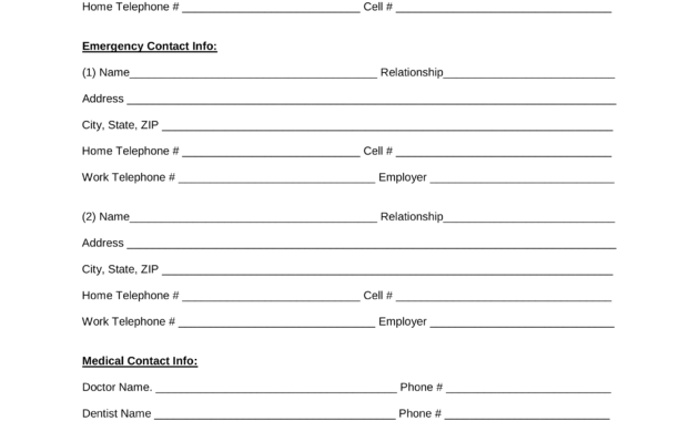 Employee Emergency Contact Form - Zohre.horizonconsulting.co pertaining to Emergency Contact Card Template