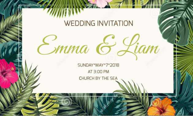 Exotic Tropical Jungle Wedding Event Invitation Stock Vector regarding Event Invitation Card Template