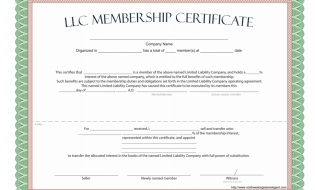 Llc Membership Certificate - Free Template within Llc Membership Certificate Template