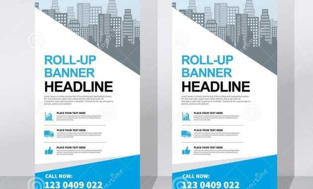 Roll Up Banner Design Template, Vertical, Abstract within Retractable Banner Design Templates