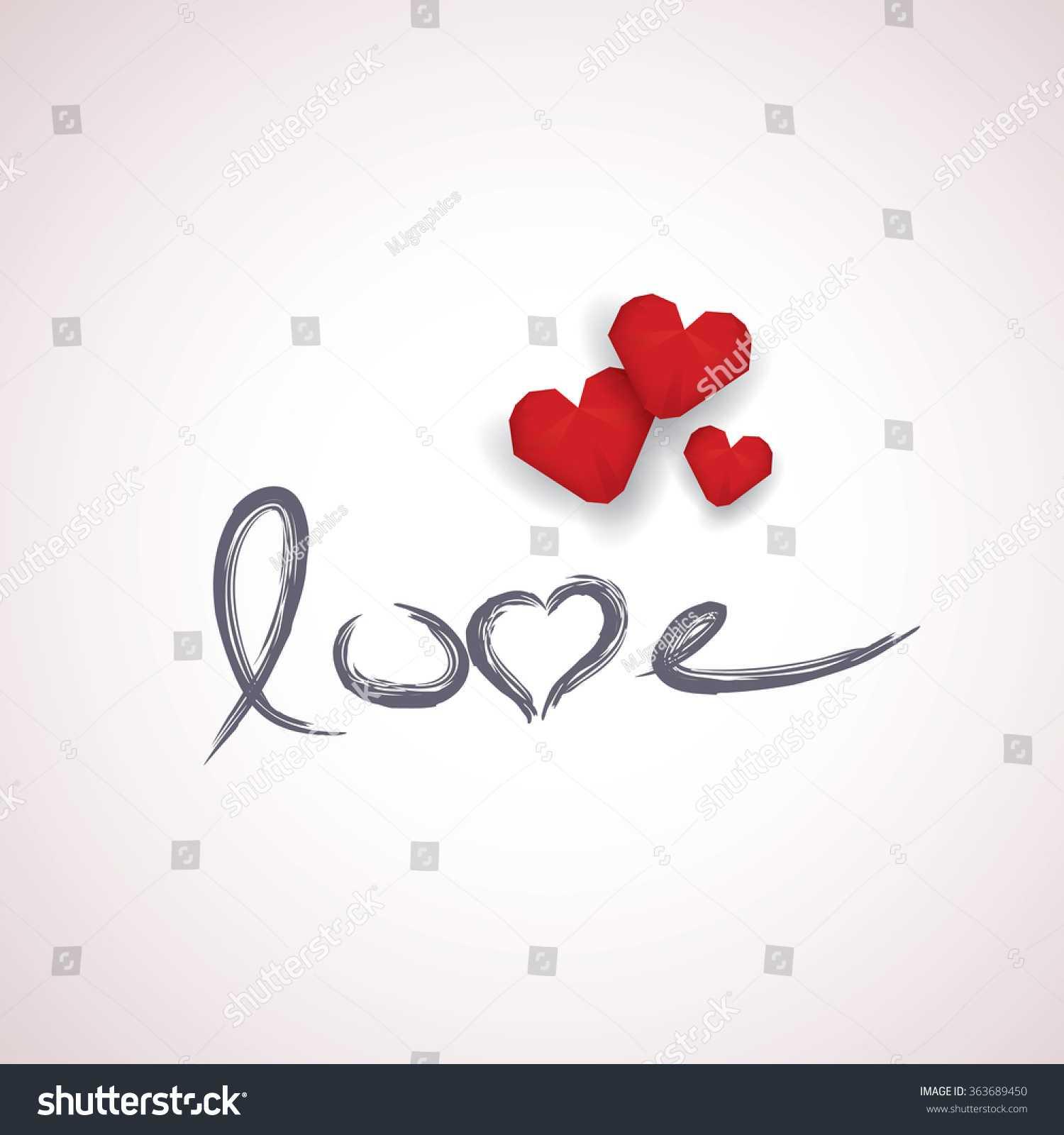 Valentine Card Template Handwritten Word Love Stock Vector For Valentine Card Template Word